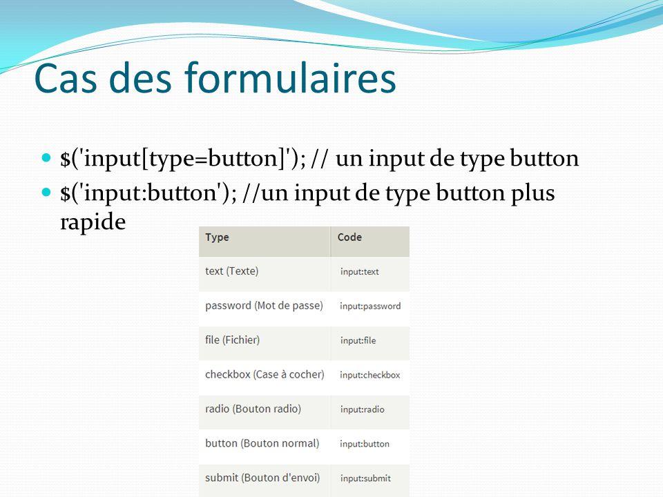 Cas des formulaires $( input[type=button] ); // un input de type button.